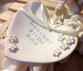 CUSTOM- Petite Fleur Heartshape Wedding Ring Bearer Bowl with Pearls, Custom Ring Holder Dish handmade with Pearl Embellishments